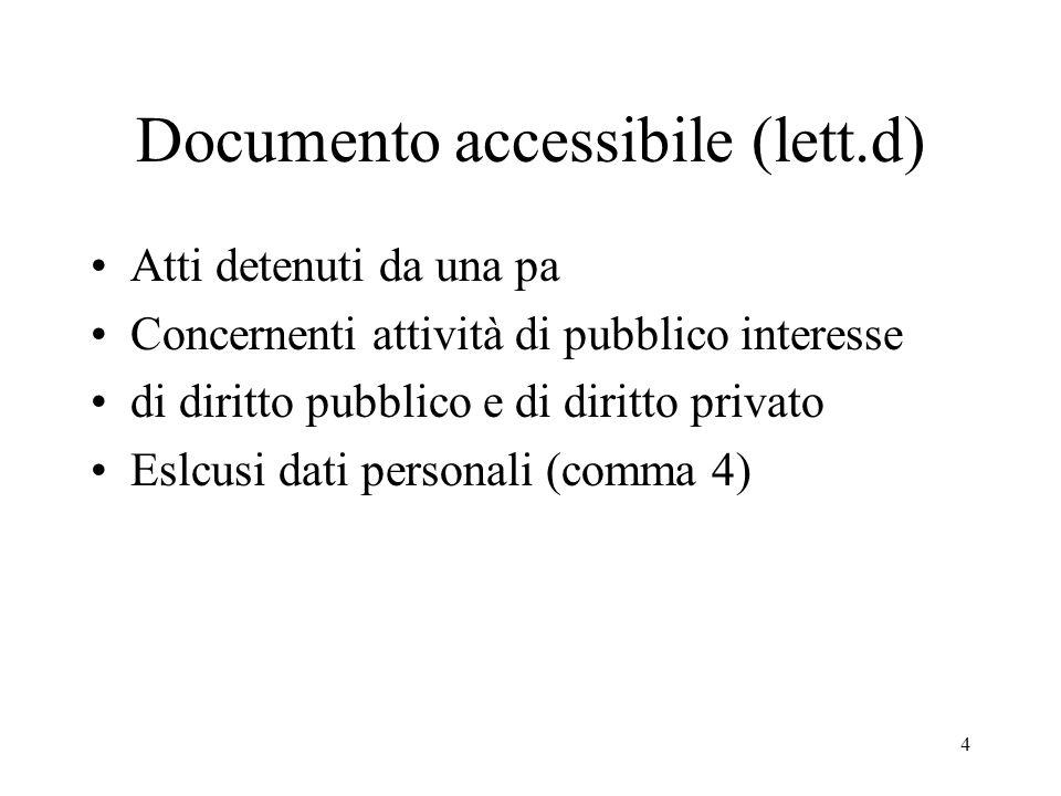 4 Documento accessibile (lett.d) Atti detenuti da una pa Concernenti attività di pubblico interesse di diritto pubblico e di diritto privato Eslcusi dati personali (comma 4)