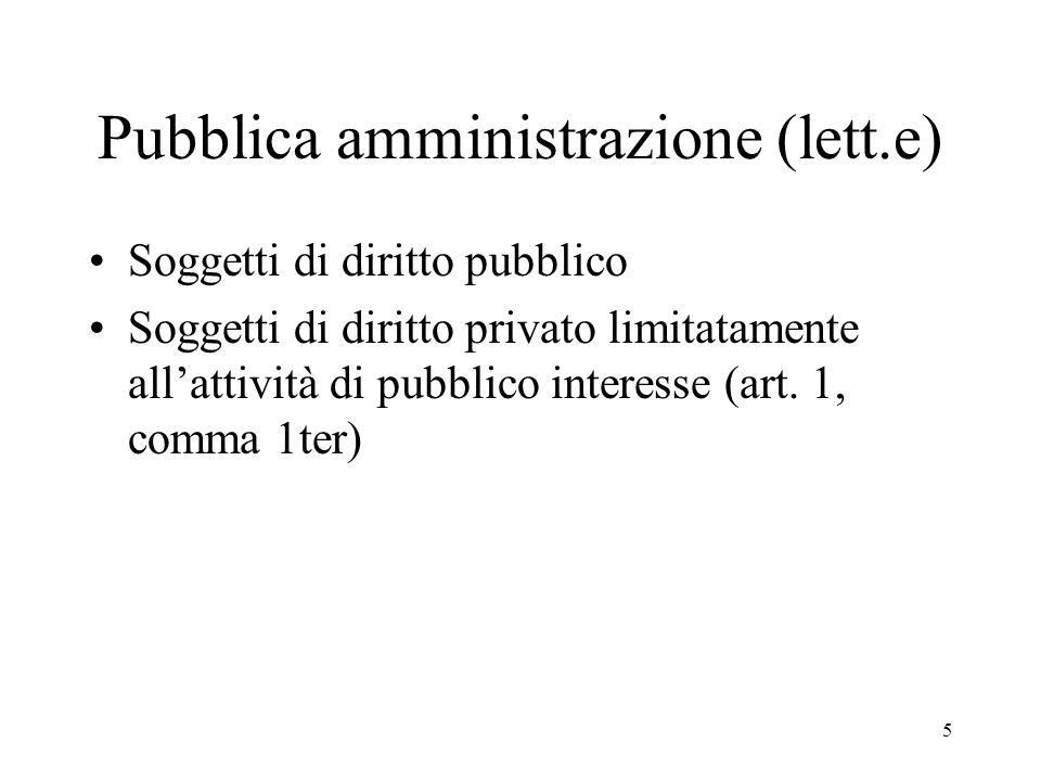 5 Pubblica amministrazione (lett.e) Soggetti di diritto pubblico Soggetti di diritto privato limitatamente all'attività di pubblico interesse (art.