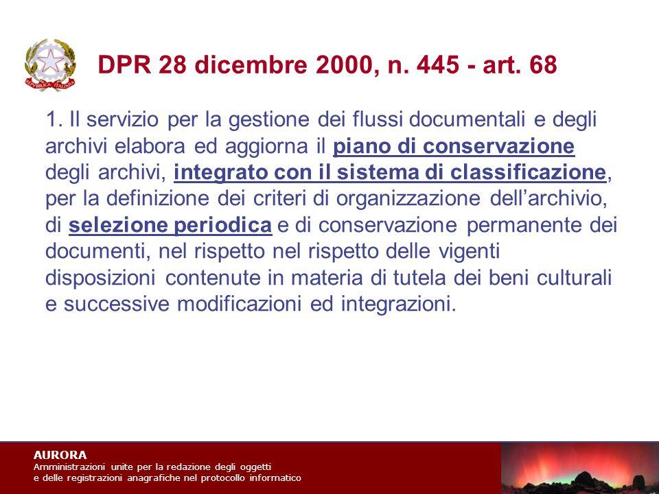 AURORA Amministrazioni unite per la redazione degli oggetti e delle registrazioni anagrafiche nel protocollo informatico DPR 28 dicembre 2000, n.