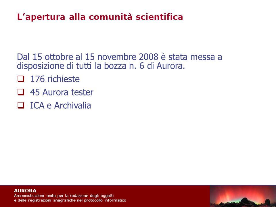 AURORA Amministrazioni unite per la redazione degli oggetti e delle registrazioni anagrafiche nel protocollo informatico Dal 15 ottobre al 15 novembre 2008 è stata messa a disposizione di tutti la bozza n.