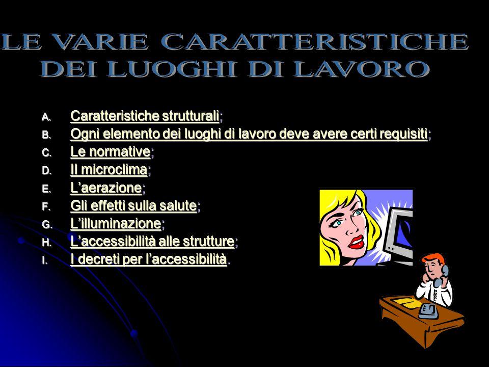 A. Caratteristiche strutturali; Caratteristiche strutturali Caratteristiche strutturali B. Ogni elemento dei luoghi di lavoro deve avere certi requisi