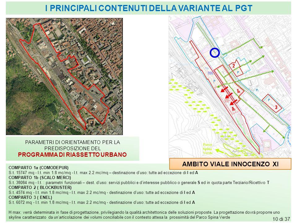 PARAMETRI DI ORIENTAMENTO PER LA PREDISPOSIZIONE DEL PROGRAMMA DI RIASSETTO URBANO COMPARTO 1a (COMODEPUR) S.t. 15747 mq - I.t. min 1.8 mc/mq - I.t. m