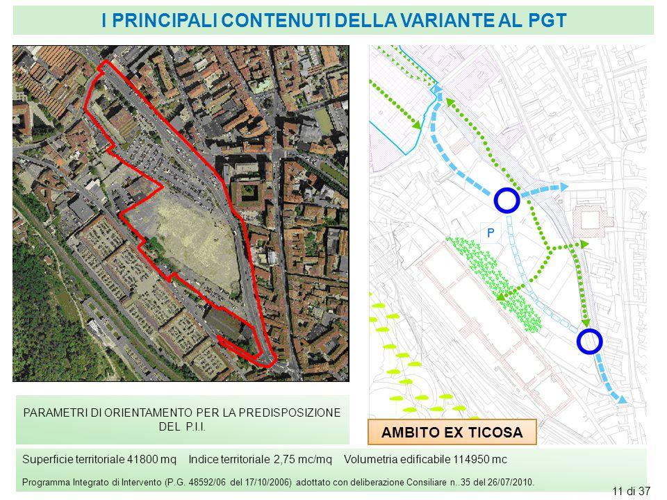 AMBITO EX TICOSA PARAMETRI DI ORIENTAMENTO PER LA PREDISPOSIZIONE DEL P.I.I. Superficie territoriale 41800 mq Indice territoriale 2,75 mc/mq Volumetri
