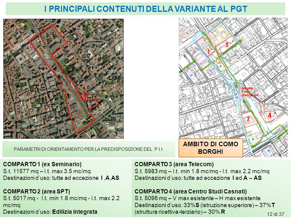 AMBITO DI COMO BORGHI PARAMETRI DI ORIENTAMENTO PER LA PREDISPOSIZIONE DEL P.I.I. COMPARTO 1 (ex Seminario) S.t. 11577 mq – I.t. max 3.5 mc/mq Destina