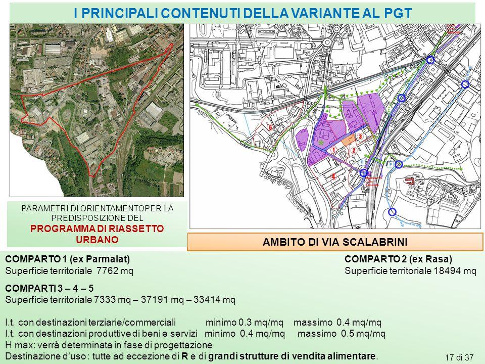 AMBITO DI VIA SCALABRINI PARAMETRI DI ORIENTAMENTOPER LA PREDISPOSIZIONE DEL PROGRAMMA DI RIASSETTO URBANO COMPARTO 1 (ex Parmalat) COMPARTO 2 (ex Ras