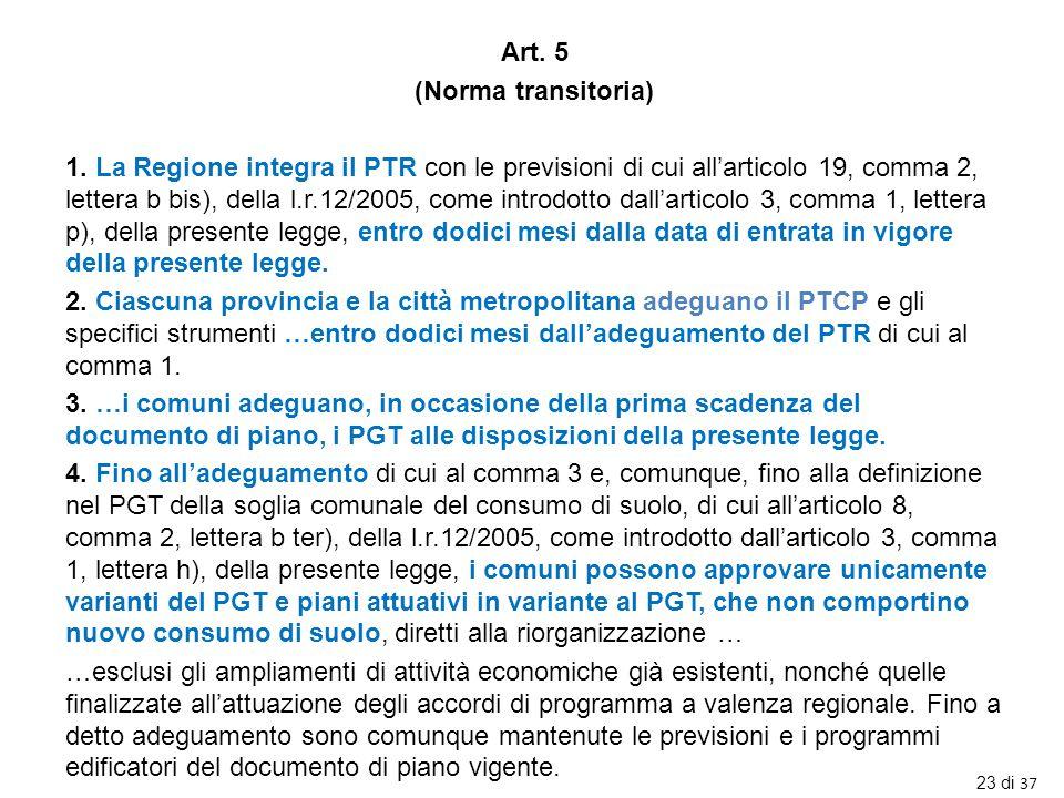 Art. 5 (Norma transitoria) 1. La Regione integra il PTR con le previsioni di cui all'articolo 19, comma 2, lettera b bis), della l.r.12/2005, come int