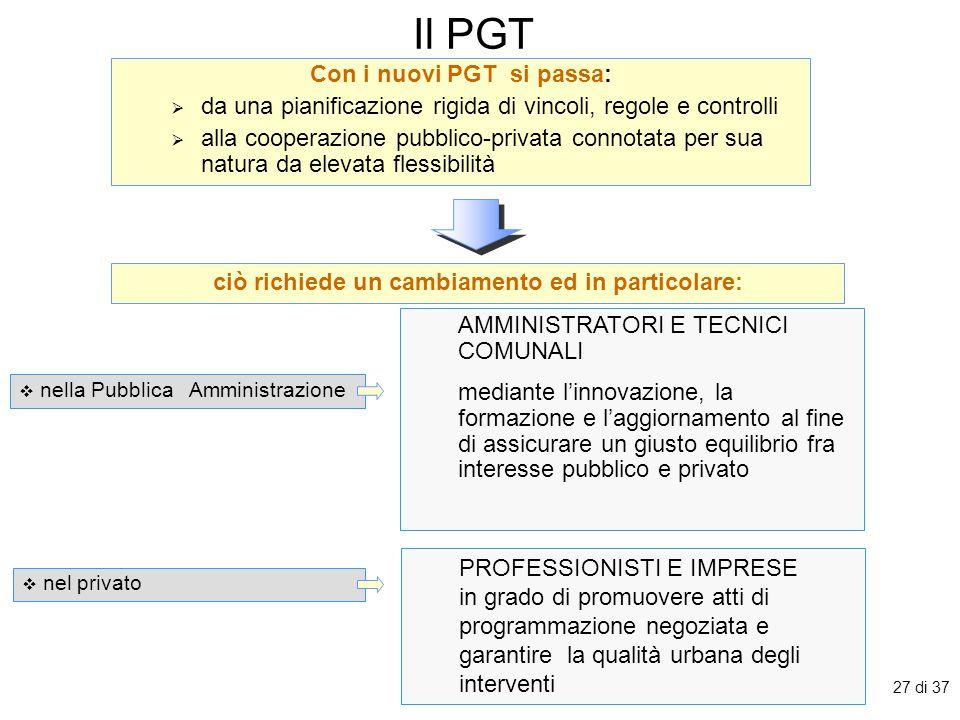 27 di 37 Il PGT Con i nuovi PGT si passa:  da una pianificazione rigida di vincoli, regole e controlli  alla cooperazione pubblico-privata connotata