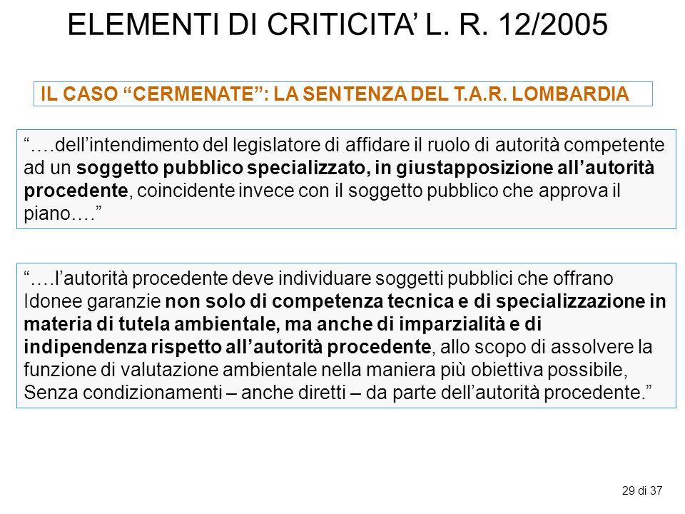 """29 di 37 ELEMENTI DI CRITICITA' L. R. 12/2005 """"….dell'intendimento del legislatore di affidare il ruolo di autorità competente ad un soggetto pubblico"""