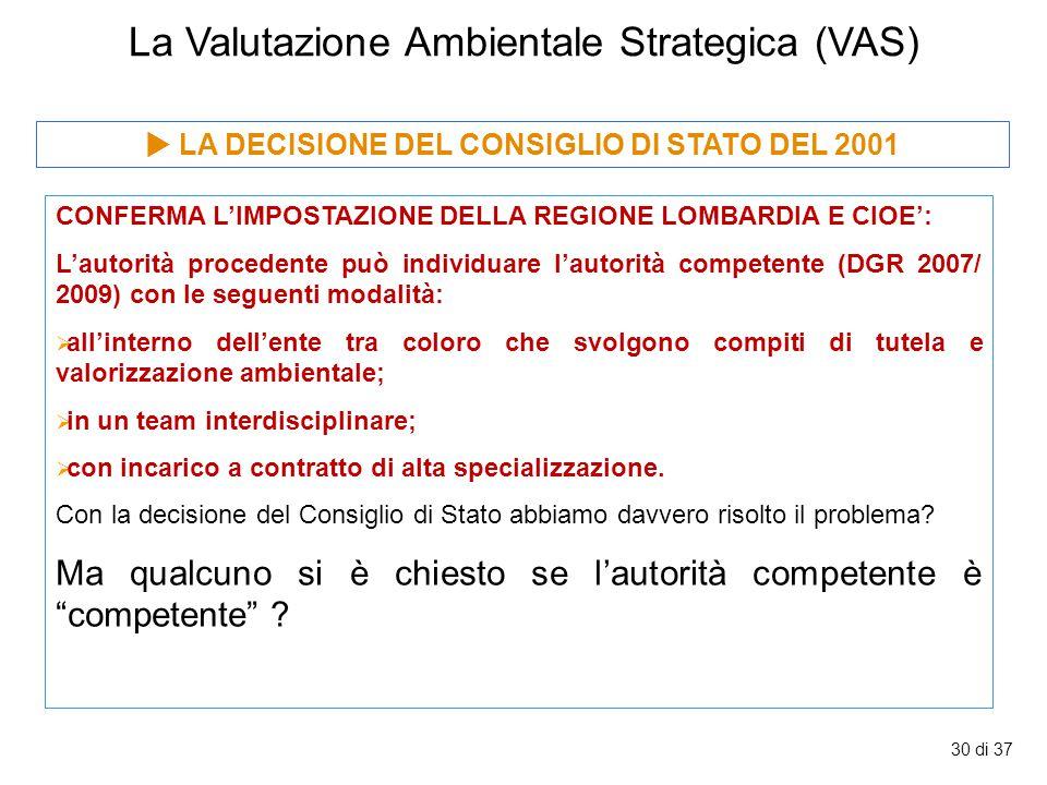 30 di 37 La Valutazione Ambientale Strategica (VAS) CONFERMA L'IMPOSTAZIONE DELLA REGIONE LOMBARDIA E CIOE': L'autorità procedente può individuare l'a