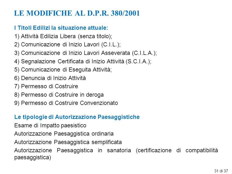 LE MODIFICHE AL D.P.R. 380/2001 I Titoli Edilizi la situazione attuale: 1) Attività Edilizia Libera (senza titolo); 2) Comunicazione di Inizio Lavori