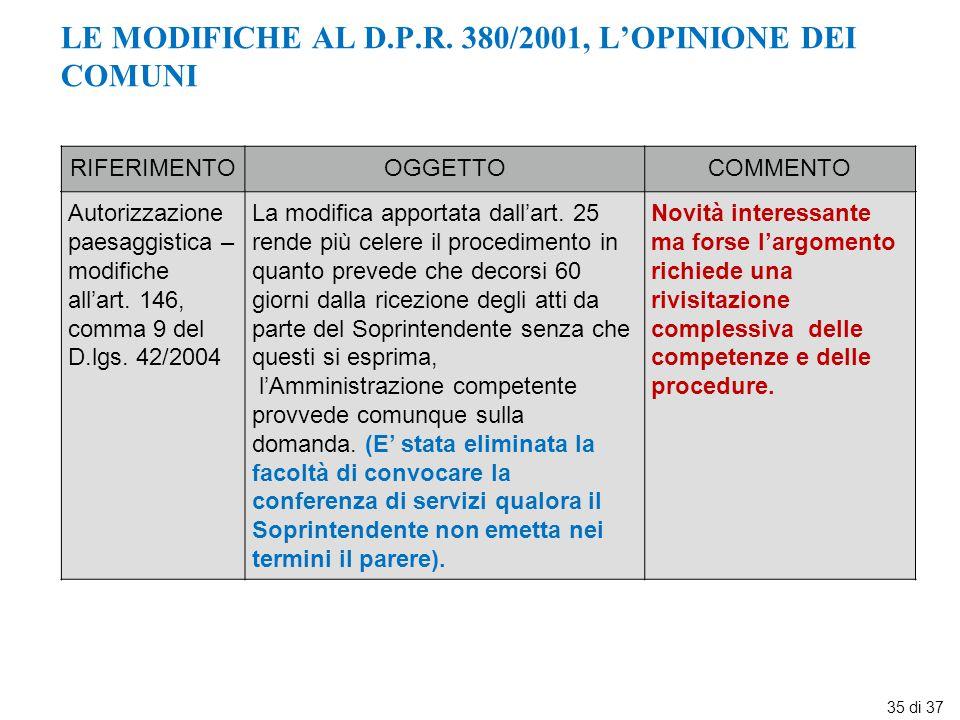 LE MODIFICHE AL D.P.R. 380/2001, L'OPINIONE DEI COMUNI RIFERIMENTOOGGETTOCOMMENTO Autorizzazione paesaggistica – modifiche all'art. 146, comma 9 del D