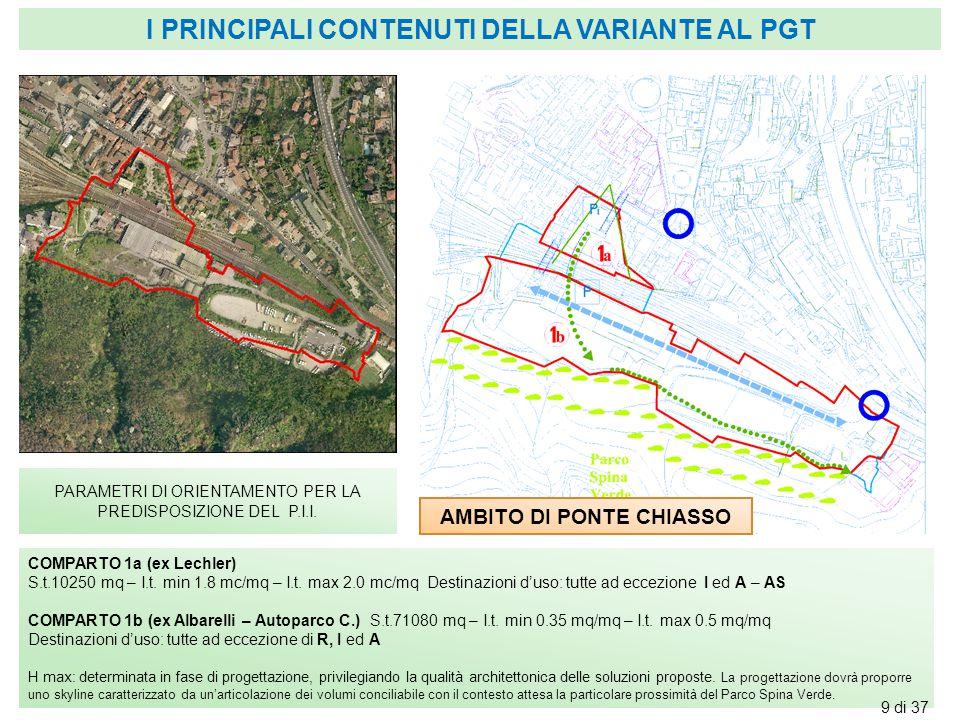 AMBITO DI PONTE CHIASSO PARAMETRI DI ORIENTAMENTO PER LA PREDISPOSIZIONE DEL P.I.I. COMPARTO 1a (ex Lechler) S.t.10250 mq – I.t. min 1.8 mc/mq – I.t.