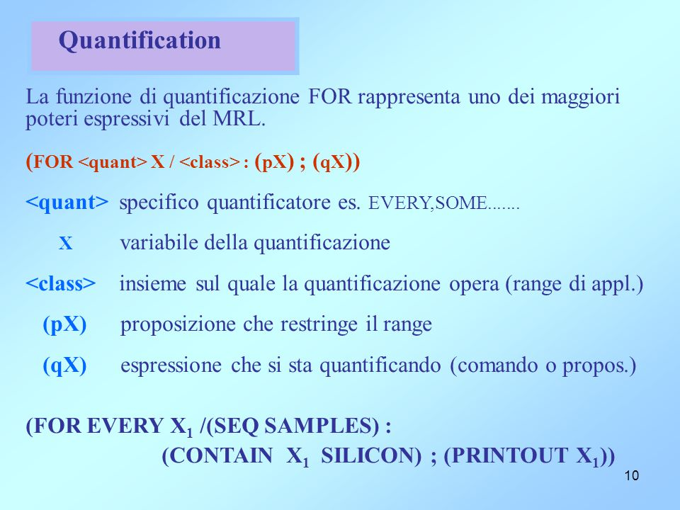 10 Quantification La funzione di quantificazione FOR rappresenta uno dei maggiori poteri espressivi del MRL. ( FOR X / : ( pX ) ; ( qX )) specifico qu