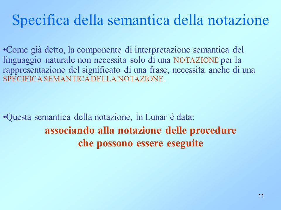 11 Specifica della semantica della notazione Come già detto, la componente di interpretazione semantica del linguaggio naturale non necessita solo di una NOTAZIONE per la rappresentazione del significato di una frase, necessita anche di una SPECIFICA SEMANTICA DELLA NOTAZIONE.