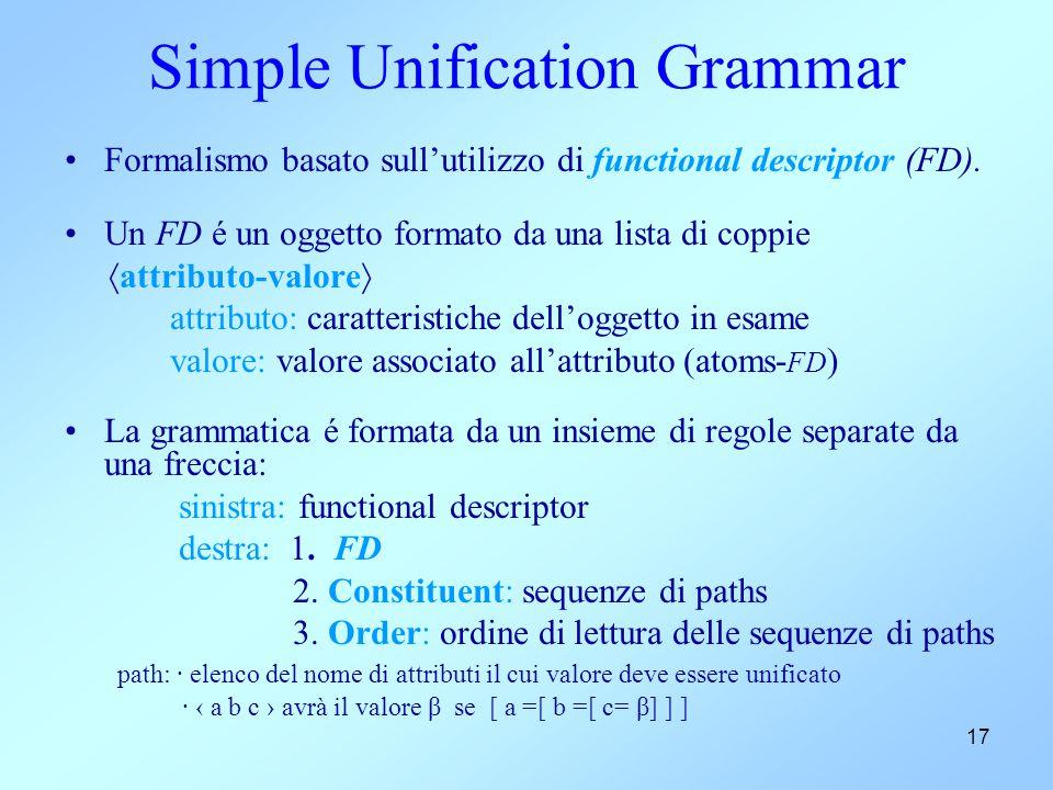 17 Simple Unification Grammar Formalismo basato sull'utilizzo di functional descriptor (FD). Un FD é un oggetto formato da una lista di coppie  attri