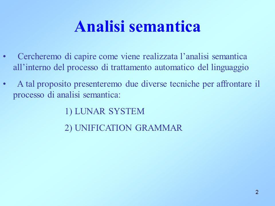 2 Analisi semantica Cercheremo di capire come viene realizzata l'analisi semantica all'interno del processo di trattamento automatico del linguaggio A tal proposito presenteremo due diverse tecniche per affrontare il processo di analisi semantica: 1) LUNAR SYSTEM 2) UNIFICATION GRAMMAR