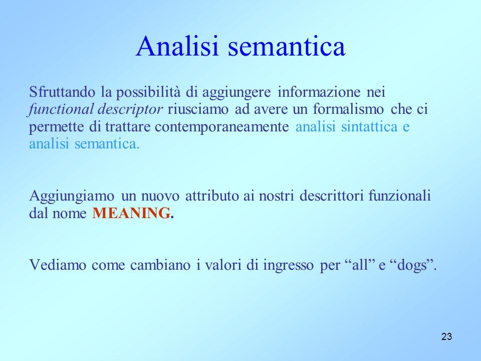 23 Analisi semantica Sfruttando la possibilità di aggiungere informazione nei functional descriptor riusciamo ad avere un formalismo che ci permette di trattare contemporaneamente analisi sintattica e analisi semantica.