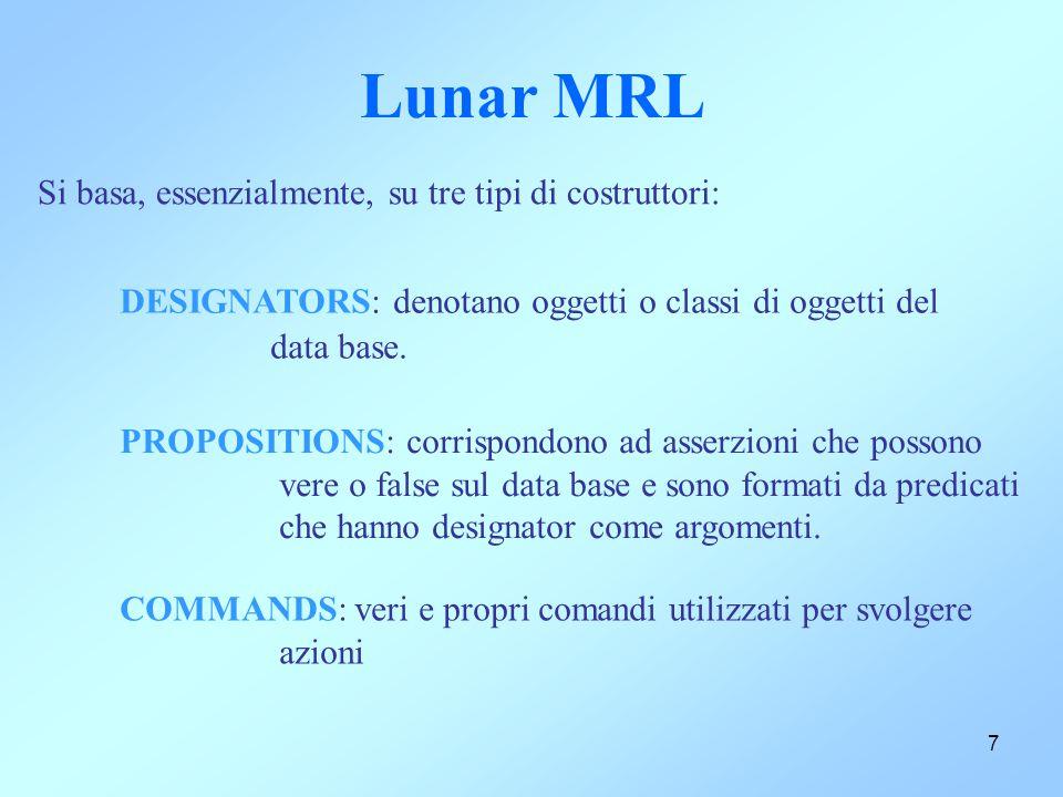 7 Lunar MRL DESIGNATORS: denotano oggetti o classi di oggetti del data base. PROPOSITIONS: corrispondono ad asserzioni che possono vere o false sul da