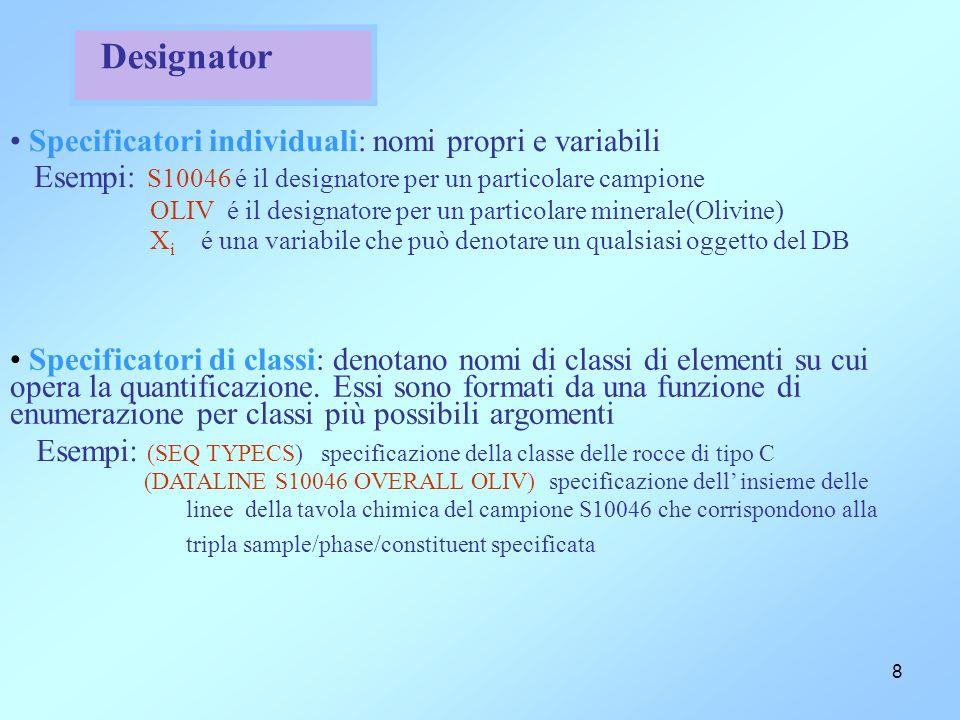 8 Designator Specificatori individuali: nomi propri e variabili Esempi: S10046 é il designatore per un particolare campione OLIV é il designatore per un particolare minerale(Olivine) X i é una variabile che può denotare un qualsiasi oggetto del DB Specificatori di classi: denotano nomi di classi di elementi su cui opera la quantificazione.