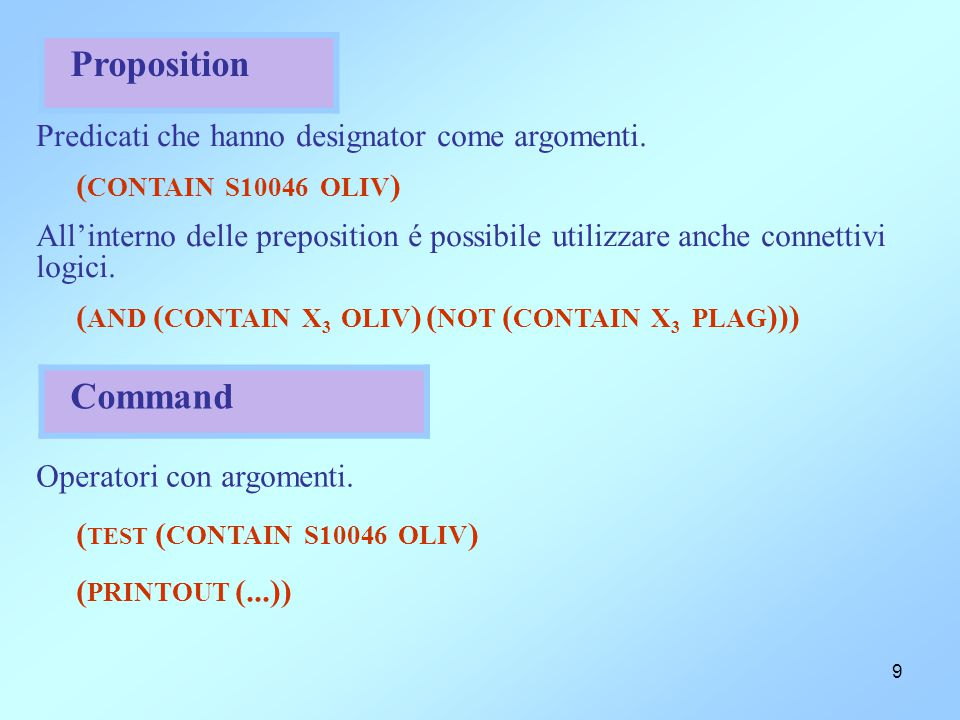9 Proposition Predicati che hanno designator come argomenti. ( CONTAIN S10046 OLIV ) All'interno delle preposition é possibile utilizzare anche connet