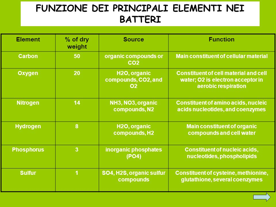 FUNZIONE DEI PRINCIPALI ELEMENTI NEI BATTERI Element% of dry weight SourceFunction Carbon50organic compounds or CO2 Main constituent of cellular material Oxygen20H2O, organic compounds, CO2, and O2 Constituent of cell material and cell water; O2 is electron acceptor in aerobic respiration Nitrogen14NH3, NO3, organic compounds, N2 Constituent of amino acids, nucleic acids nucleotides, and coenzymes Hydrogen8H2O, organic compounds, H2 Main constituent of organic compounds and cell water Phosphorus3inorganic phosphates (PO4) Constituent of nucleic acids, nucleotides, phospholipids Sulfur1SO4, H2S, organic sulfur compounds Constituent of cysteine, methionine, glutathione, several coenzymes