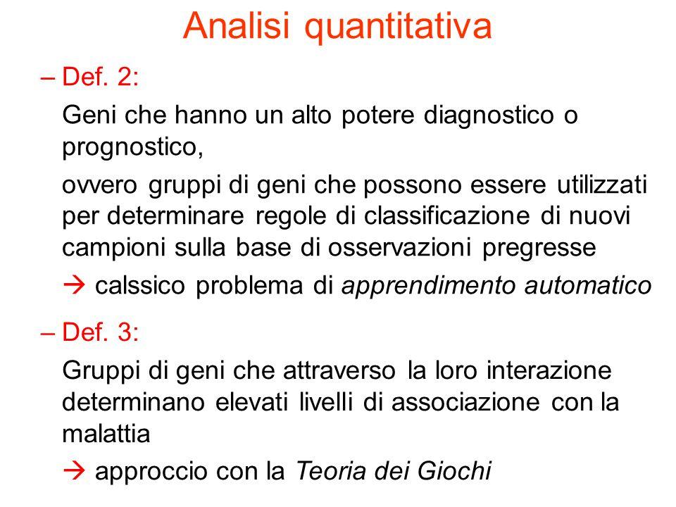 Analisi quantitativa –Def. 2: Geni che hanno un alto potere diagnostico o prognostico, ovvero gruppi di geni che possono essere utilizzati per determi
