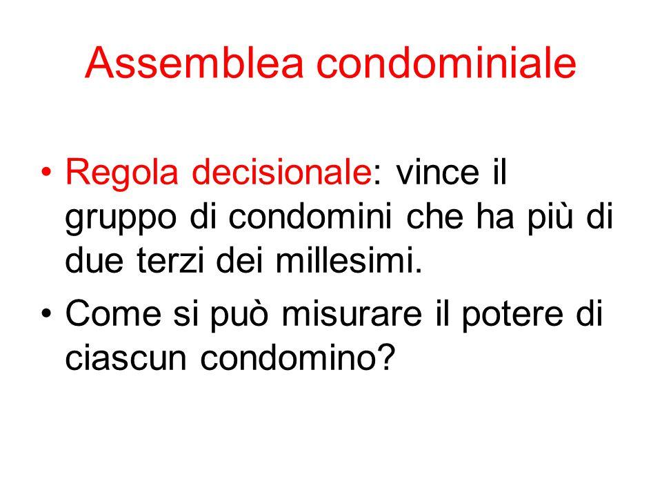 Assemblea condominiale Regola decisionale: vince il gruppo di condomini che ha più di due terzi dei millesimi. Come si può misurare il potere di ciasc