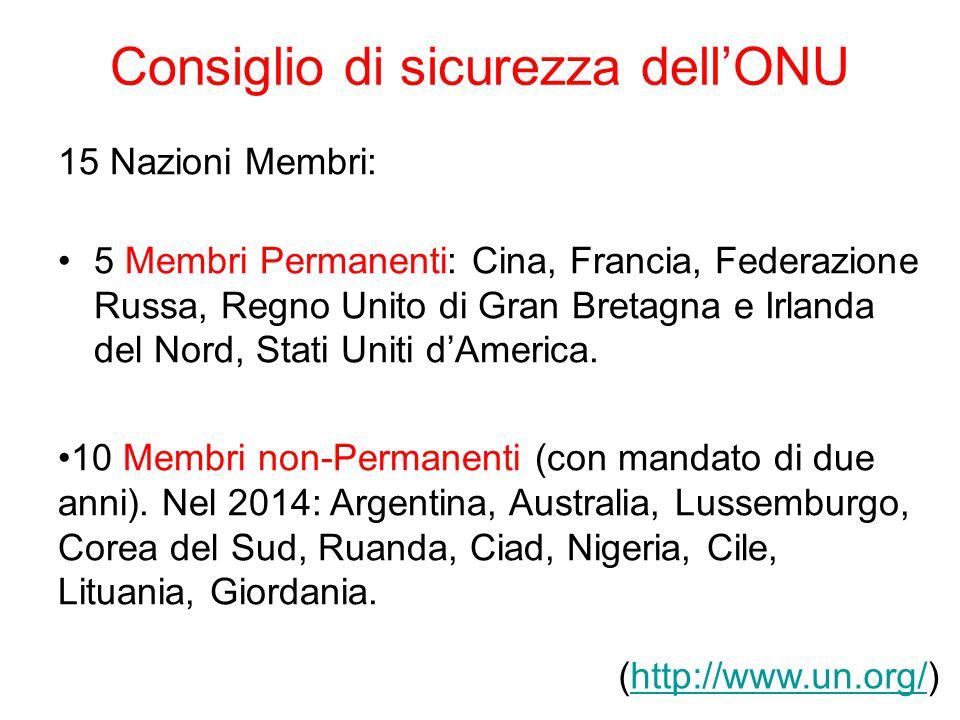 Consiglio di sicurezza dell'ONU 15 Nazioni Membri: 5 Membri Permanenti: Cina, Francia, Federazione Russa, Regno Unito di Gran Bretagna e Irlanda del N