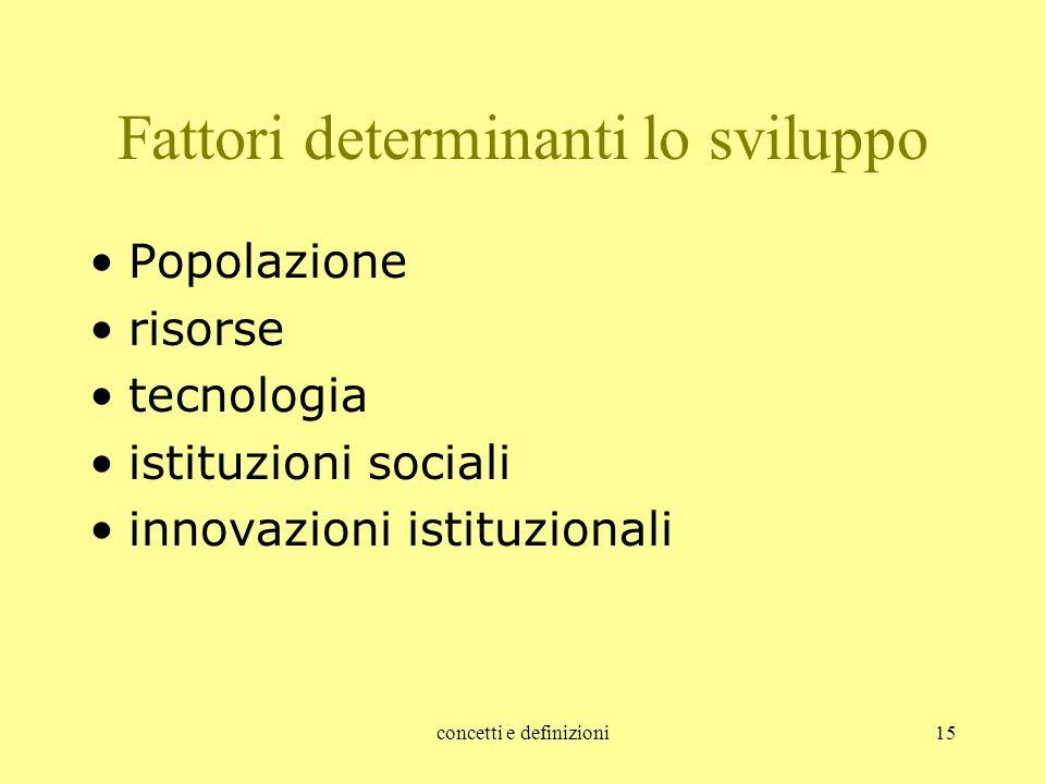 concetti e definizioni15 Fattori determinanti lo sviluppo Popolazione risorse tecnologia istituzioni sociali innovazioni istituzionali