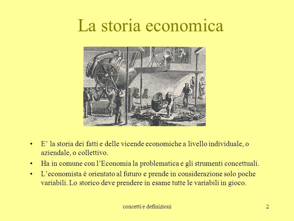 concetti e definizioni2 La storia economica E' la storia dei fatti e delle vicende economiche a livello individuale, o aziendale, o collettivo. Ha in