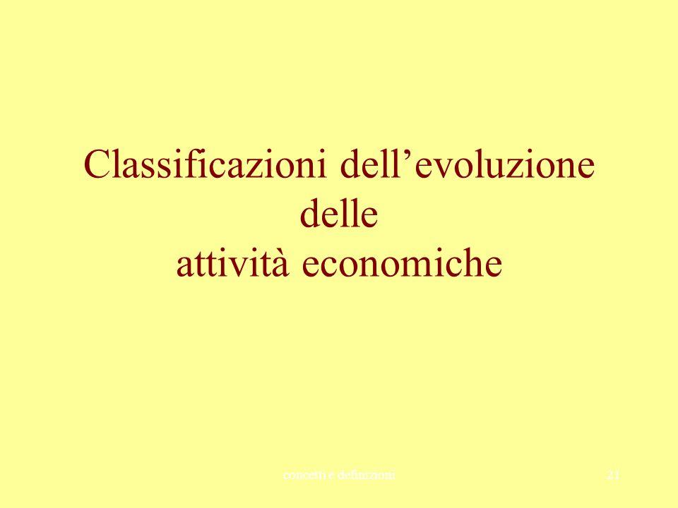 concetti e definizioni21 Classificazioni dell'evoluzione delle attività economiche