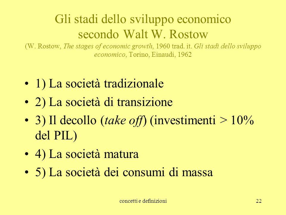 concetti e definizioni22 Gli stadi dello sviluppo economico secondo Walt W. Rostow (W. Rostow, The stages of economic growth, 1960 trad. it. Gli stadi