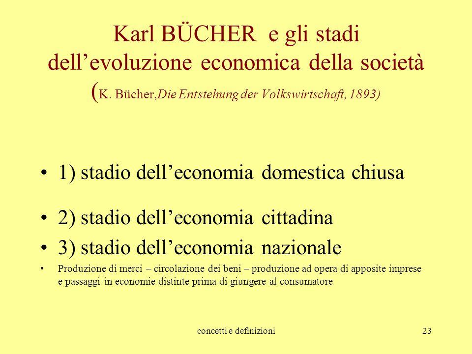 concetti e definizioni23 Karl BÜCHER e gli stadi dell'evoluzione economica della società ( K. Bücher,Die Entstehung der Volkswirtschaft, 1893) 1) stad