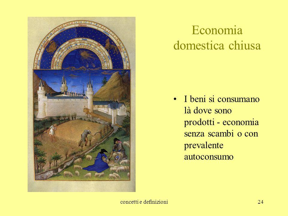 concetti e definizioni24 Economia domestica chiusa I beni si consumano là dove sono prodotti - economia senza scambi o con prevalente autoconsumo