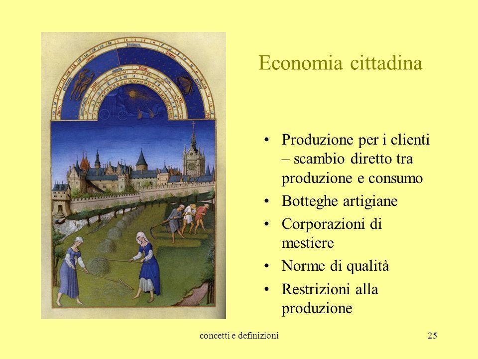 concetti e definizioni25 Economia cittadina Produzione per i clienti – scambio diretto tra produzione e consumo Botteghe artigiane Corporazioni di mes
