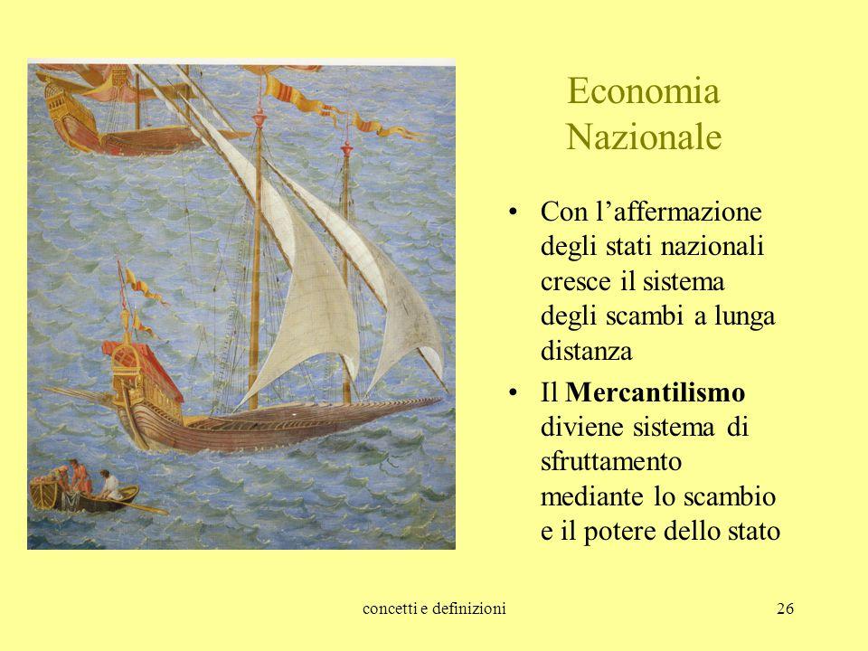 concetti e definizioni26 Economia Nazionale Con l'affermazione degli stati nazionali cresce il sistema degli scambi a lunga distanza Il Mercantilismo