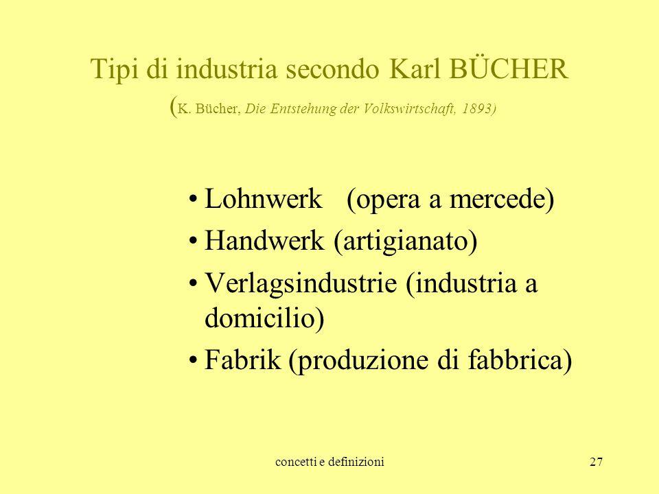 concetti e definizioni27 Tipi di industria secondo Karl BÜCHER ( K. Bücher, Die Entstehung der Volkswirtschaft, 1893) Lohnwerk (opera a mercede) Handw