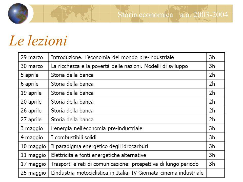 Storia economica a.a. 2003-2004 Le lezioni 29 marzoIntroduzione.
