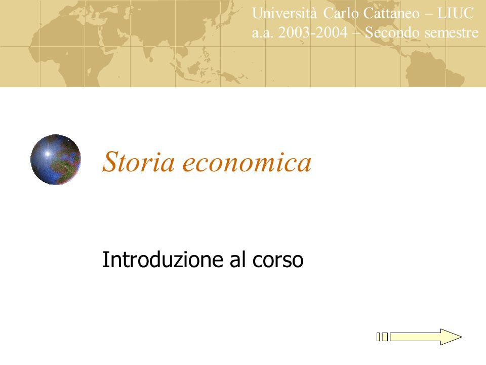 Storia economica Introduzione al corso Università Carlo Cattaneo – LIUC a.a.