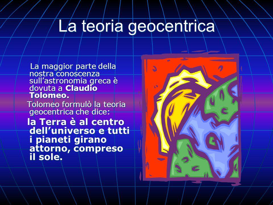 La teoria geocentrica La maggior parte della nostra conoscenza sull'astronomia greca è dovuta a Claudio Tolomeo.