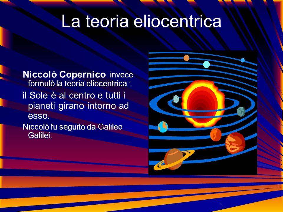 La teoria eliocentrica Niccolò Copernico invece formulò la teoria eliocentrica : Niccolò Copernico invece formulò la teoria eliocentrica : il Sole è al centro e tutti i pianeti girano intorno ad esso.