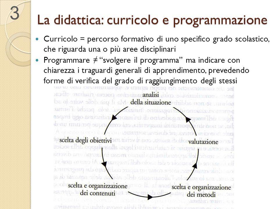 La didattica: curricolo e programmazione Curricolo = percorso formativo di uno specifico grado scolastico, che riguarda una o più aree disciplinari Pr