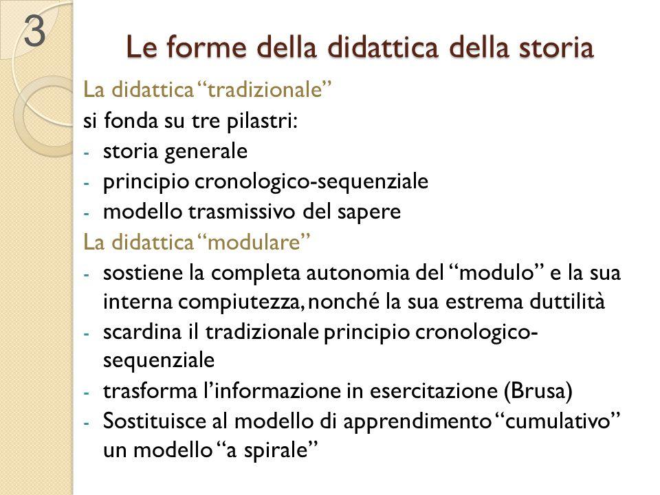 """Le forme della didattica della storia La didattica """"tradizionale"""" si fonda su tre pilastri: - storia generale - principio cronologico-sequenziale - mo"""