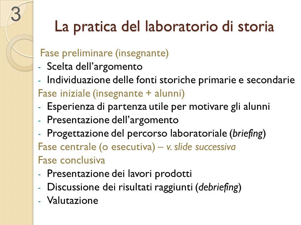 La pratica del laboratorio di stori a 3 Fase preliminare (insegnante) - Scelta dell'argomento - Individuazione delle fonti storiche primarie e seconda