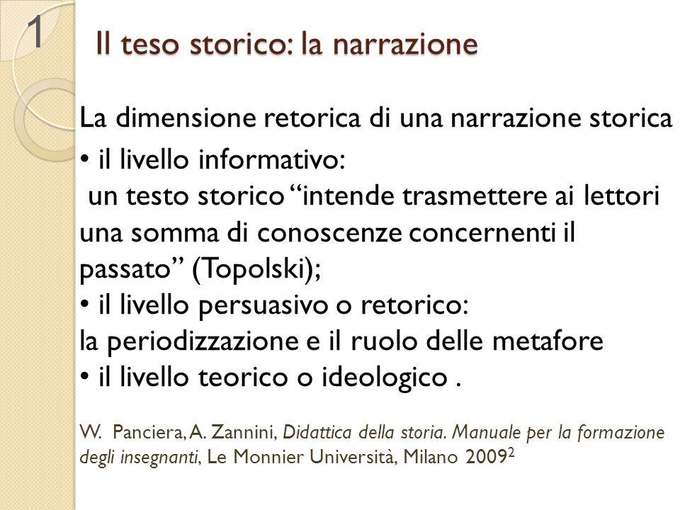 """Il teso storico: la narrazione La dimensione retorica di una narrazione storica il livello informativo: un testo storico """"intende trasmettere ai letto"""