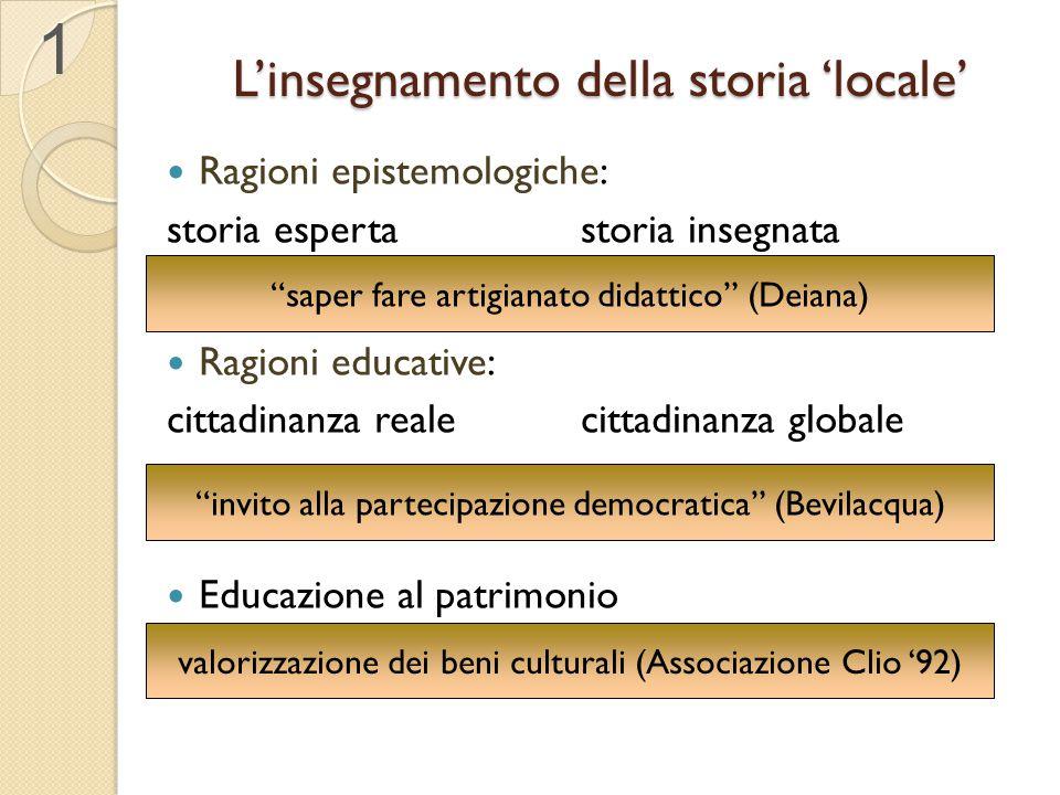 L'insegnamento della storia 'locale' Ragioni epistemologiche: storia esperta storia insegnata Ragioni educative: cittadinanza realecittadinanza global