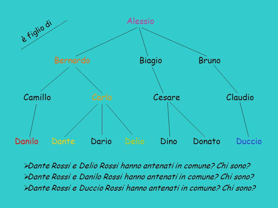 Danilo Dante Dario Delio Dino Donato Duccio Camillo Carlo Cesare Claudio Bernardo Biagio Bruno Alessio  Dante Rossi e Delio Rossi hanno antenati in c