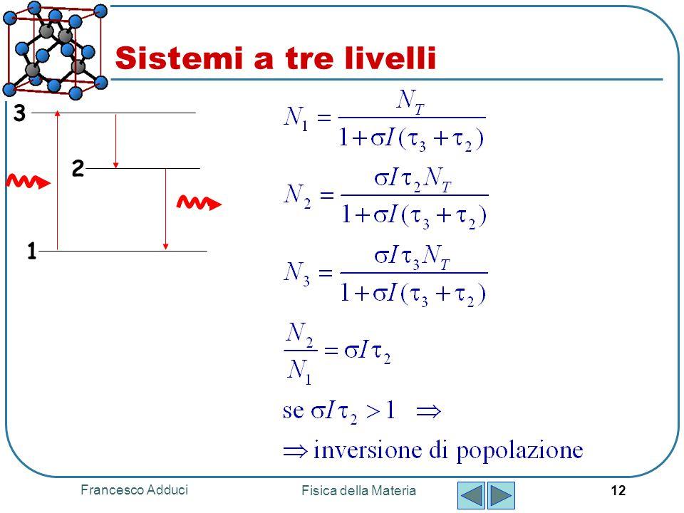 Francesco Adduci Fisica della Materia 12 Sistemi a tre livelli 1 2 3