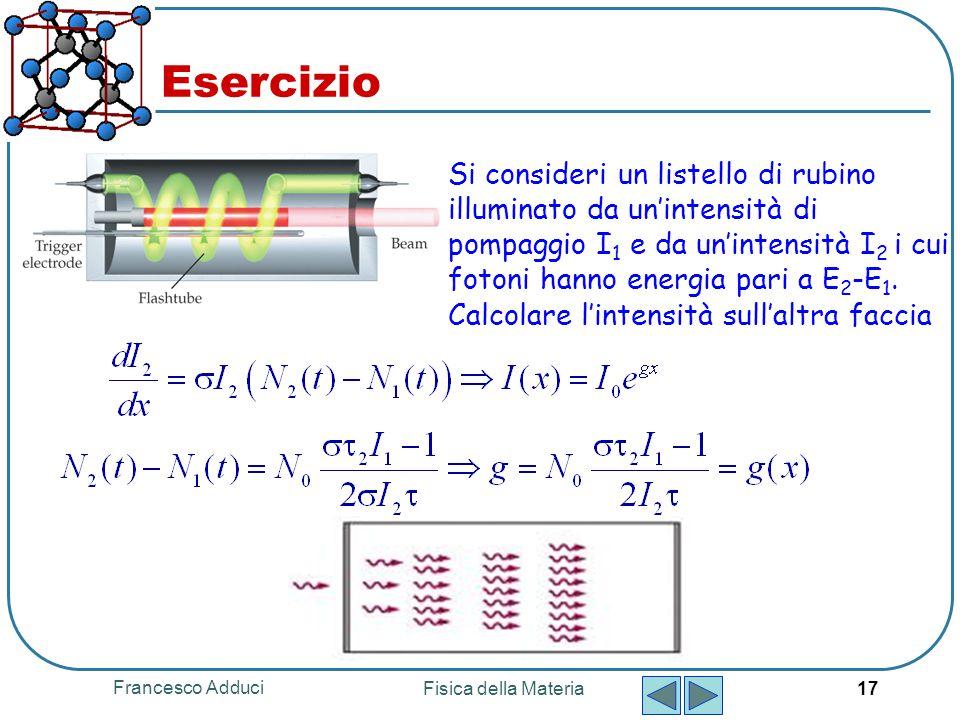 Francesco Adduci Fisica della Materia 17 Esercizio Si consideri un listello di rubino illuminato da un'intensità di pompaggio I 1 e da un'intensità I