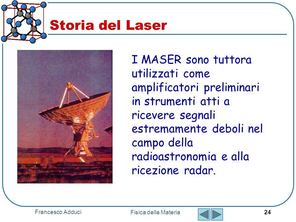 Francesco Adduci Fisica della Materia 24 Storia del Laser I MASER sono tuttora utilizzati come amplificatori preliminari in strumenti atti a ricevere